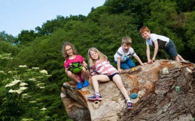 Children sitting on a log