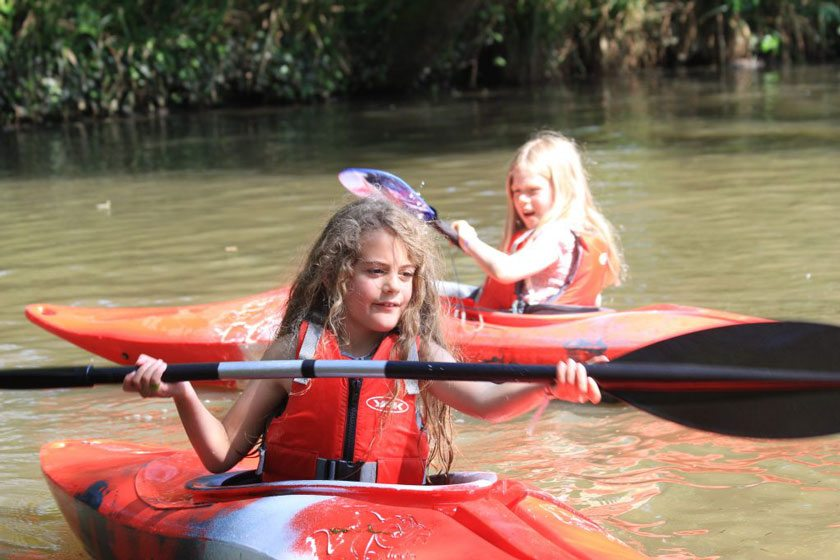 Kayaking from our Fairthorne Manor campsite.