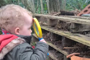 Child playing outside at Treetots