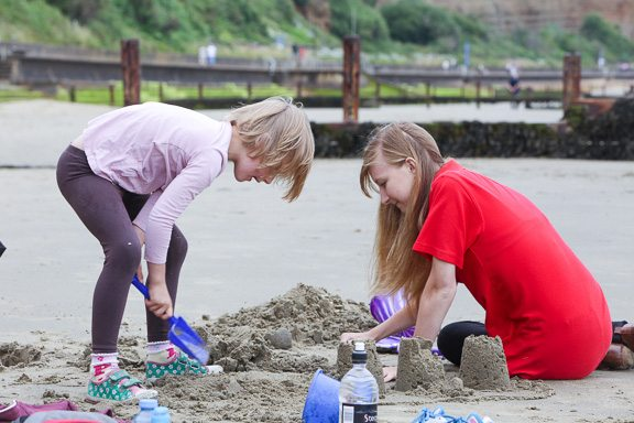Making sandcastles at one of the Isle of Wight daycamps.