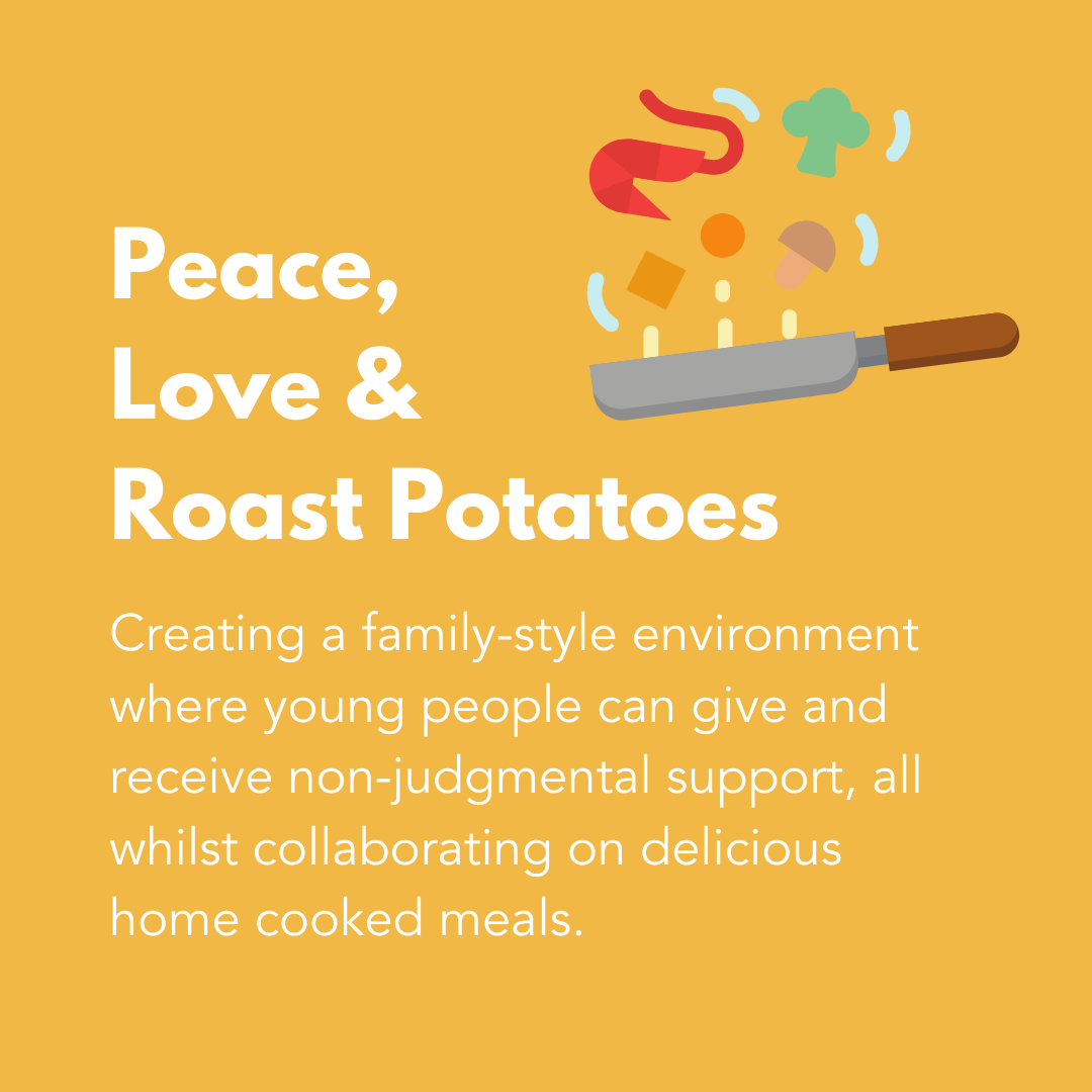 Peace, Love and Roast Potatoes Graphic
